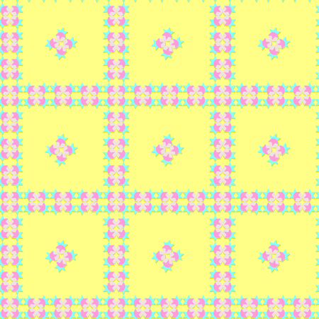 Seamless colorful pattern of stars and round shapes in blue, pink, and gray colors with shadow, yellow background, paper art style, pastel color. Flat design vector, for wallpaper, wrap paper prints.