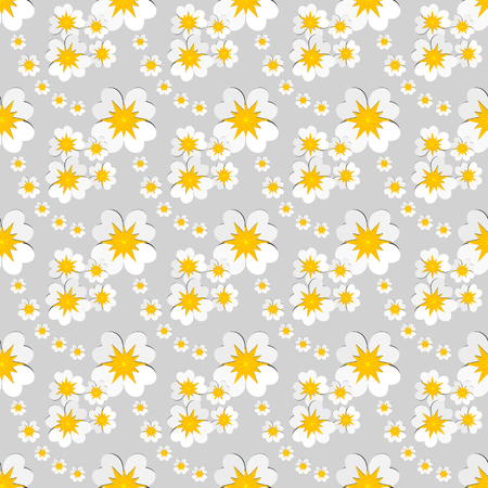 Seamless floral pattern of white flowers with yellow pollen on gray background. Flat design vector illustration. Use as background, wallpaper, gift wrap paper, tile and fabric prints.
