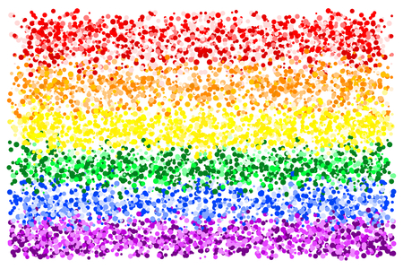 Colorful rainbow texture background of various colors and dots, vector illustration, EPS10. There are six colors, red, orange, yellow, green, indigo, blue, and violet (purple).