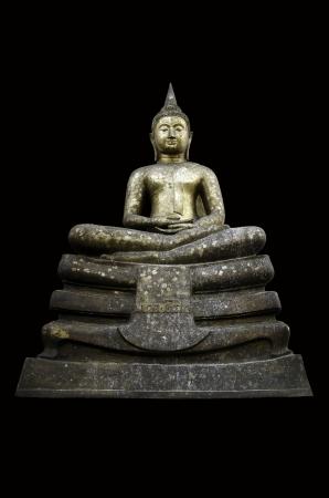 squat: Buddha statue with black background