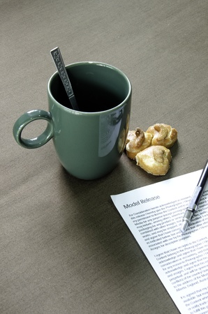 Coffee and documents with a dark background  Stock fotó
