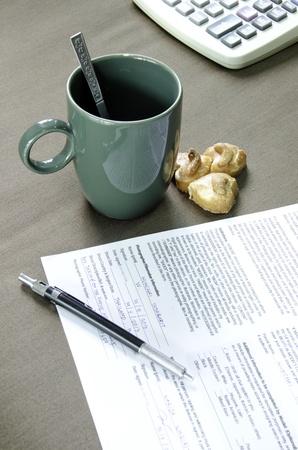 Coffee and documents with a dark background  Zdjęcie Seryjne