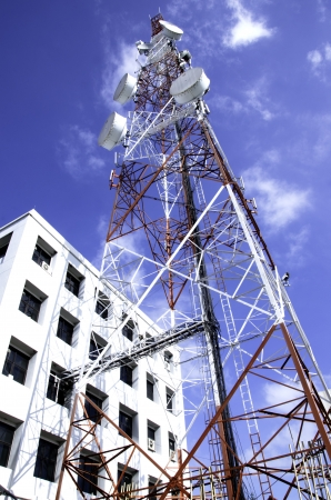 chairlift: Antenna signal m sky as a backdrop  Stock Photo