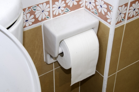 White tissue paper in the toilet  Stock Photo - 21123496