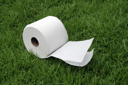 White tissue paper on the lawn