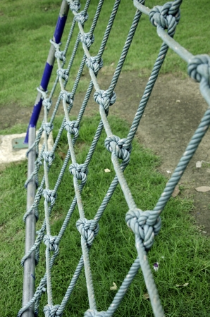 tether: Nets with rope on the playground.