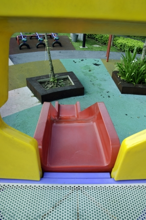 Playground equipment in the park. Stock Photo