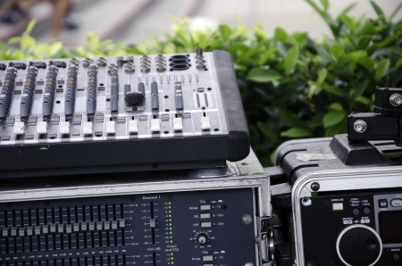 audiophile: Amplifier is placed outdoors. Stock Photo