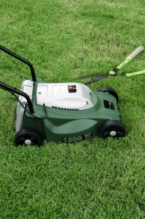 Mowers in the green field. photo
