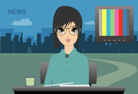 newsreader:  Female anchor to the city as a backdrop