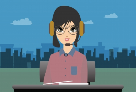 newsreader:  Call center woman with city in the background  Illustration