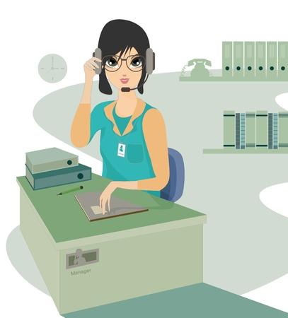 call center woman: Llame a centro mujer que trabaja en oficina