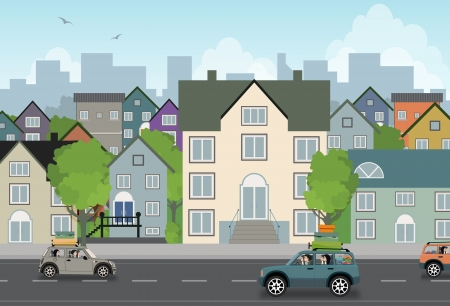 City traffic with a background building Illustration