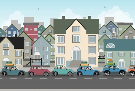 교통 체증과 도시의 이미지 일러스트