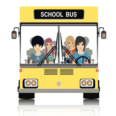 School bus with children in the car  Stock Vector - 21947565
