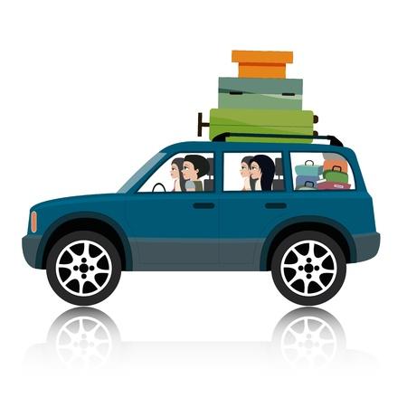 suv: Women drive suv luggage