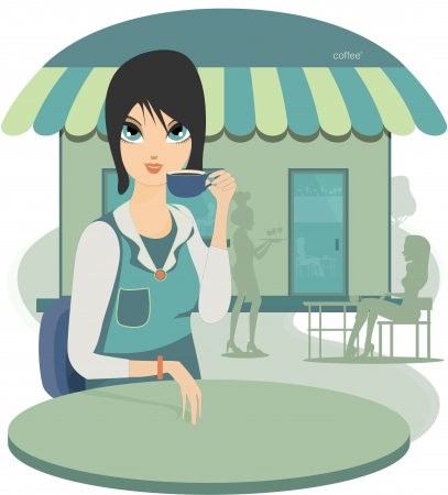 Woman sipping coffee at a coffee shop as a backdrop  Vector