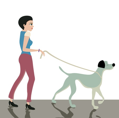 Women leash dog across the street  Vector