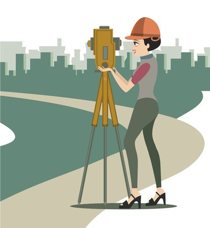 environmental safety:  Women are two boxes in construction engineer  Illustration