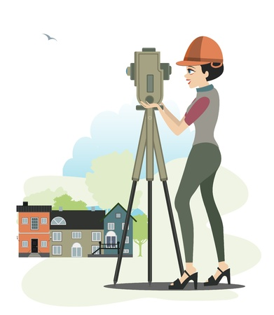 Women are two boxes in construction engineer  Vector