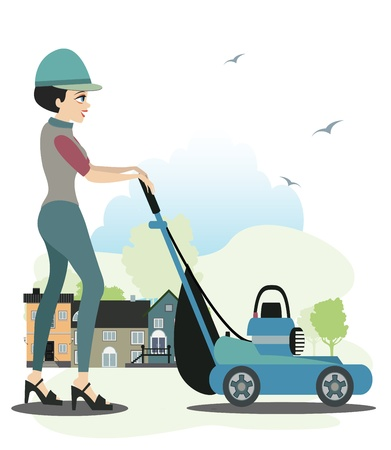 push mower:  Women who have used the mower home as a backdrop