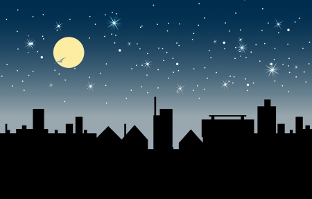 city skyline night:  Building at night with stars and moon in the sky