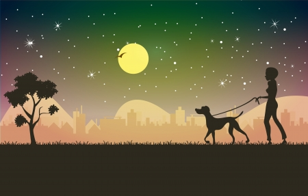 Woman with dog in tow Night City as a backdrop  Vector