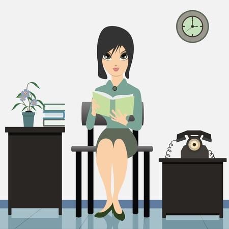 fantasize: Mujer que lee un libro en las obras
