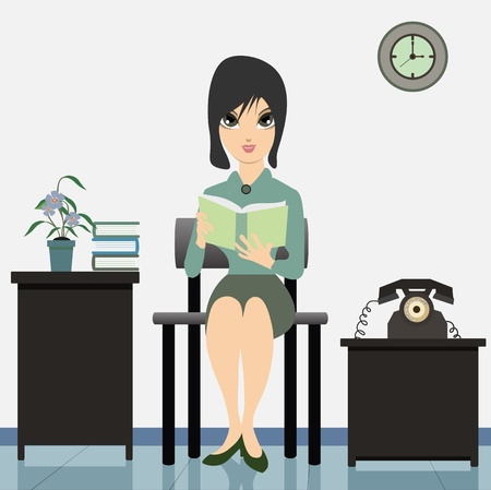 multi racial: Woman reading a book in the works  Illustration