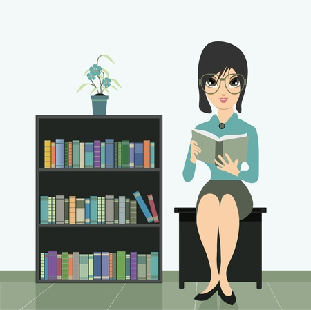 Woman reading a book near bookshelf Vector