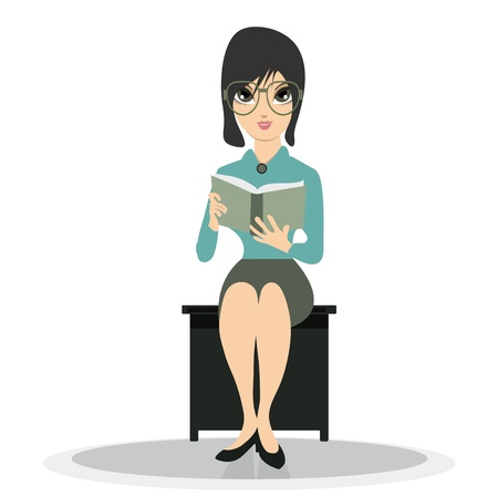 Woman reading a white background   イラスト・ベクター素材