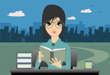 Woman reading a backdrop to the city  Stock Vector - 21990018