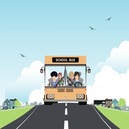 motorbus: Autob�s escolar con los ni�os en el coche Vectores
