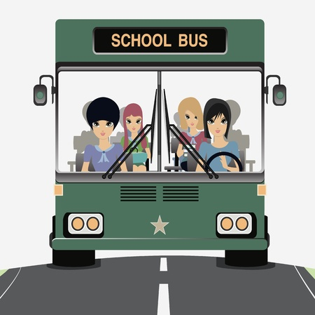 School bus with children in the car  Vector