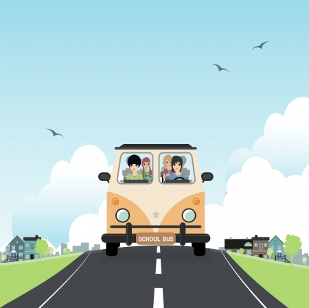 motorbus: School bus with children in the car