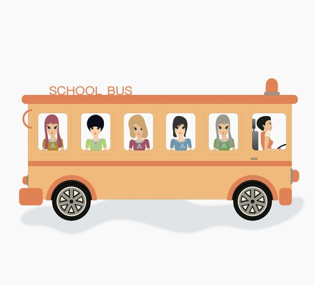 School bus with white background  Vector