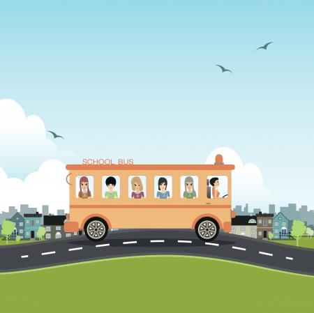 motorbus: School bus with a city backdrop  Illustration