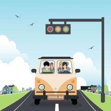 School bus with children in the car Stock Vector - 21990029