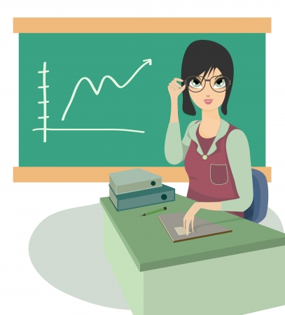 Business woman sitting at a table with a graph in the background  Vector