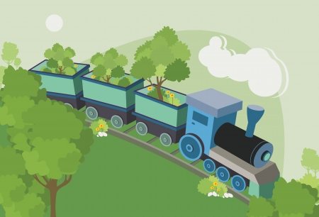 Train tree truck running on rails   イラスト・ベクター素材