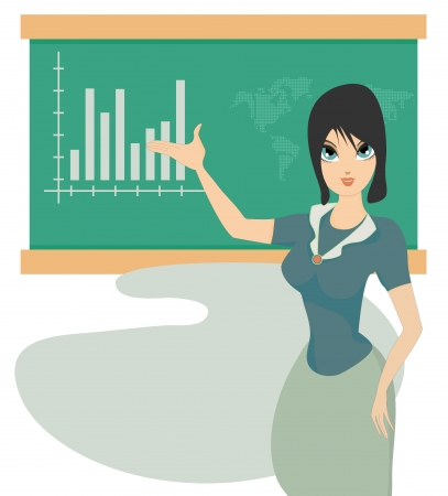 Business woman on board the graph