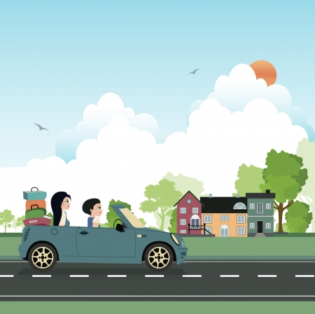 Take a drive to visit family  Illustration