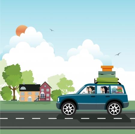 가족을 방문하기 위해 운전