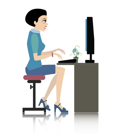 Woman working at computer desk with a white background  Illustration