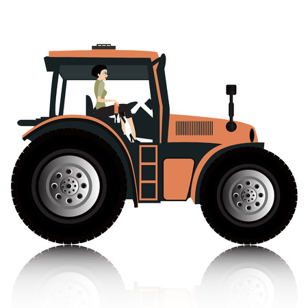 wheeled tractor: Women are driving the plow with a white background  Illustration
