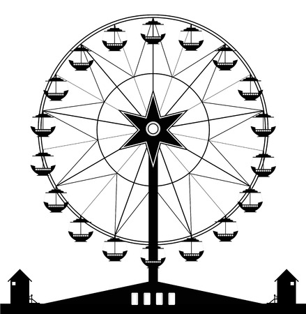 Ferris wheel with a black and white background  Vector