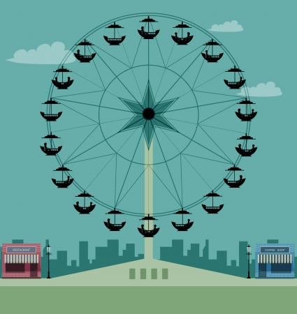 Ferris wheel at the city as a backdrop  Vector