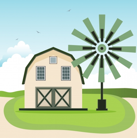 Barn with a windmill in the background sky  Vector