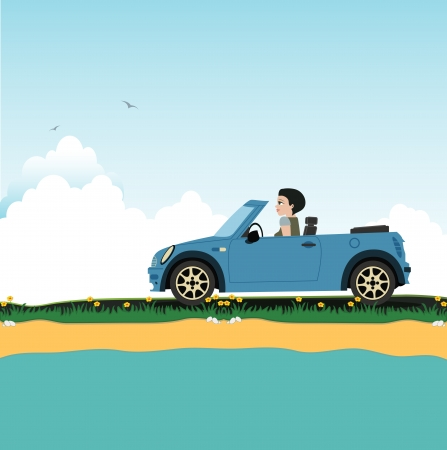 Women s driving a seaside sky as a backdrop  Vector