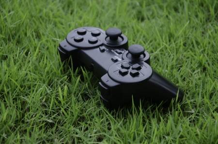 Joystick game controller with grass in the background